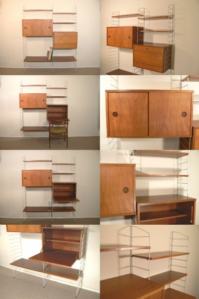 A 'String'  racking system, c1950s. Designed by Nils and Karin strinning, Sweden.