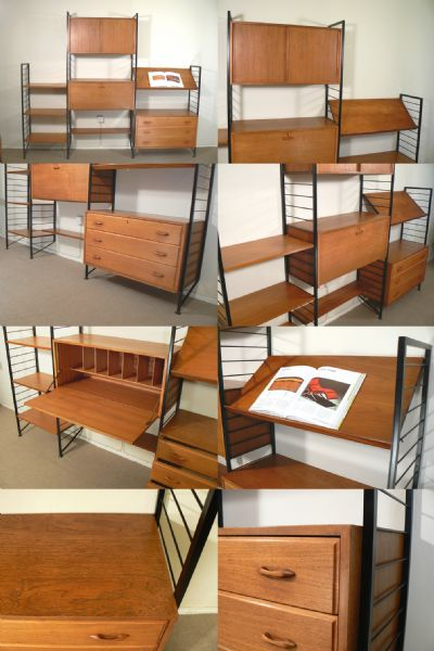 A large impressive Ladderax wall system, c1960s. Designed by Robert Heal and manufactured by Staples, London. With the desirable lecturn shelf and pull down bureau, making a complete desk area. Can be arranged to suit your needs.