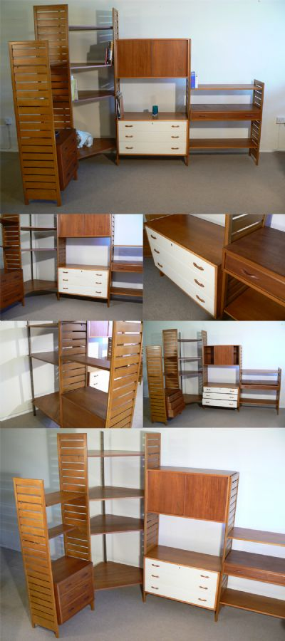 A large teak Ladderax corner system, c1960s. Designed by Robert Heal for Staples ltd. A totally versatile modular storage unit with any number of different configurations. This free standing version can be used as a room divider.