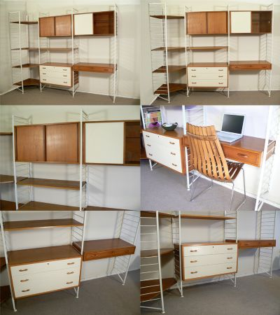 A large Ladderax corner system, c1968. Rare white metal uprights with teak boxes and shelves which can be arranged to suit. By Robert Heal for Staples of London.