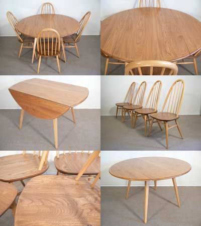 A drop leaf dining table and four Quaker chairs by Lucian Ercolani for Ercol furniture, c1970s. Solid elm and beech.