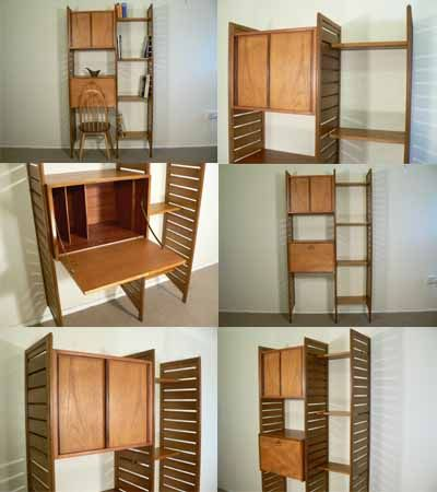 A small teak Ladderax system with narrow shelf section. A totally adjustable and versatile storage system, designed by Robert Heal for Staples, c1960s