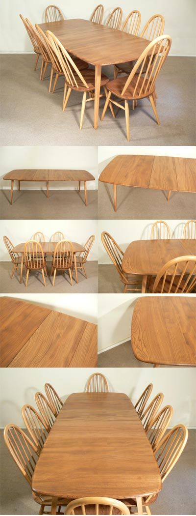 An Ercol refectory Table and 10 Quaker chairs in elm with beech leg section, c1970s. Extends to make a large imposing table with superb grain and construction details. Seating for 8 to 10 people. Designed by Lucian Ercolani for Ercol of England.