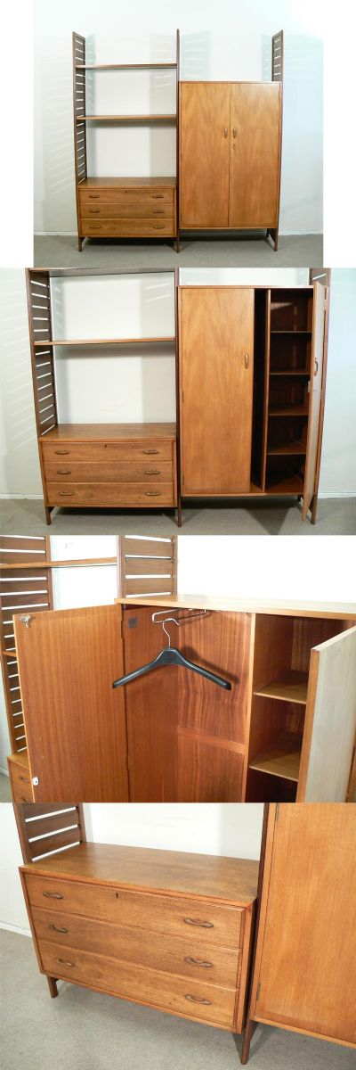 A 1960s all teak Ladderax wardrobe system. Designed by Robert Heal for Staples of London. A three draw chest and rare wardrobe unit with slide out hanging rail and cubicles.