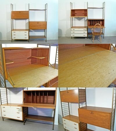 A wall leaning gold metal ladderax system, c1960s. Featuring a birds eye maple drinks unit, chest of draws and bureau. By Robert Heal for Staples, London