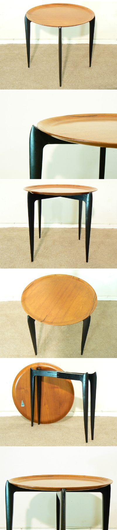 A teak and ebonised. collapsable tray on a stand. Manufactured by Impala c1960s