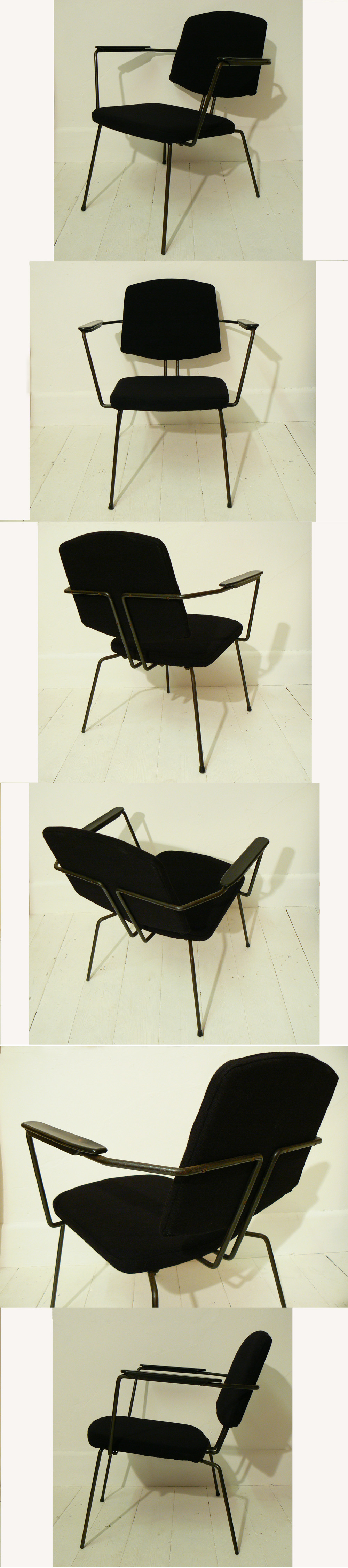 A 1950s metal framed armchair, designed by Rudolf Wolf and manufactured by Elsrijk, Holland.. Upholstered in black wool.