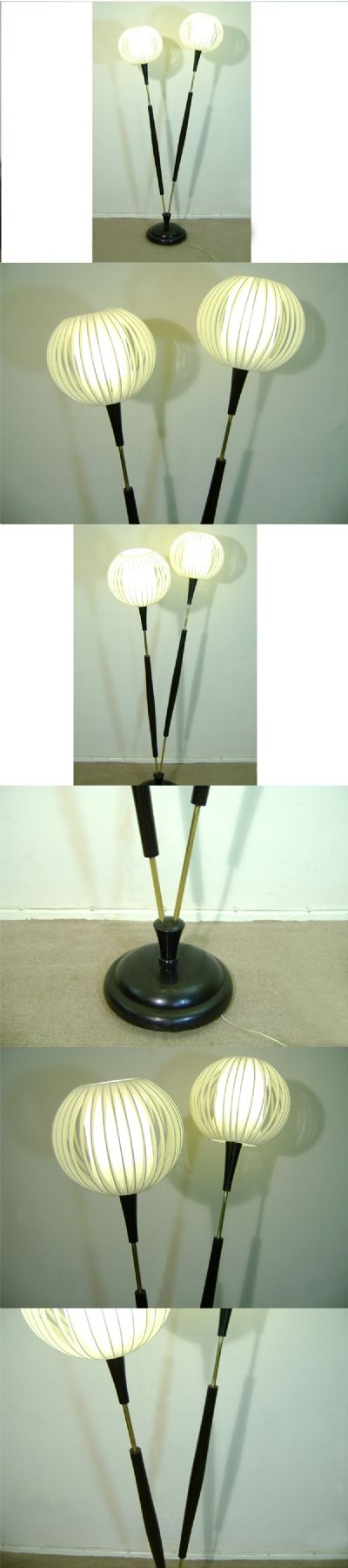 A  highly unusual double stem floor lamp, c1950/60s. Of Ebonised wood with brass fittings and distinctive shades.