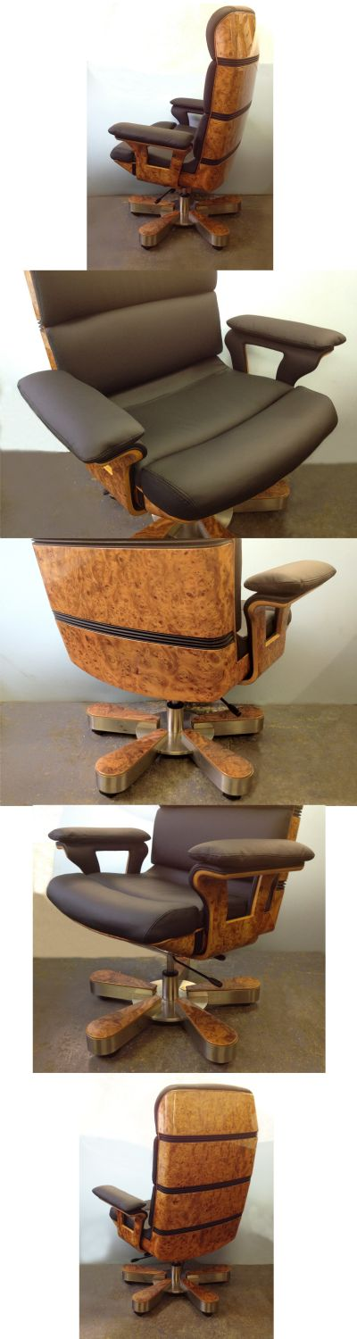 A leather and burr walnut swivel chair on cast metal base, possibly Italian, c1970/80s