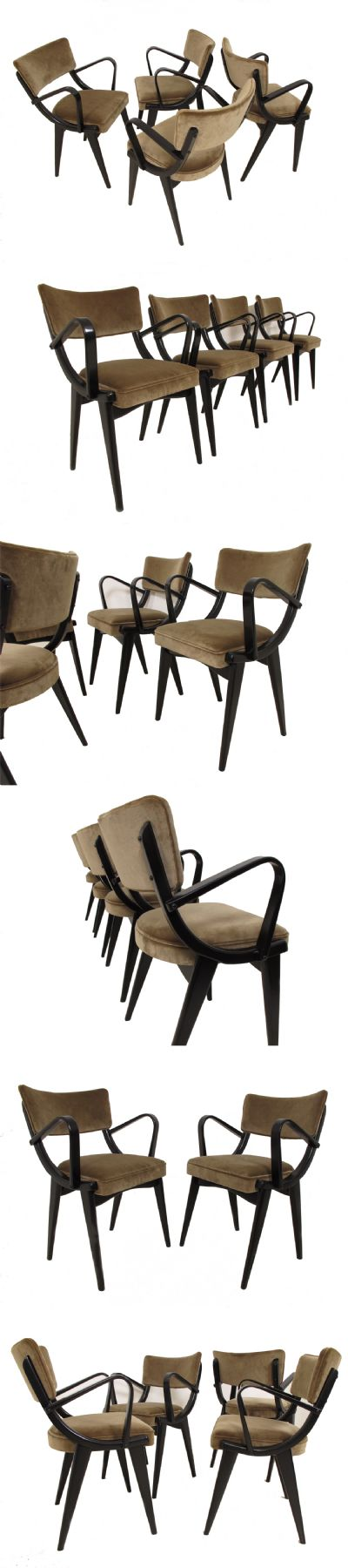A set of four ebonised chairs c1960s. Manufactured by Ben chairs Ltd