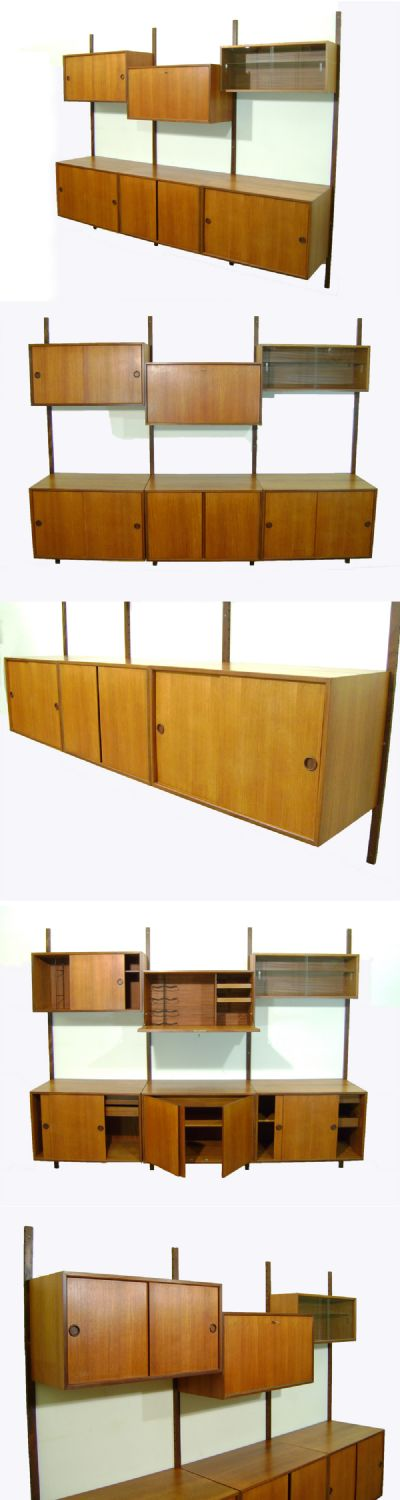 A teak wall mounted storage system by Cado of Denmark, c1960s. The boxes can be mounted higher or lower than shown, as required.