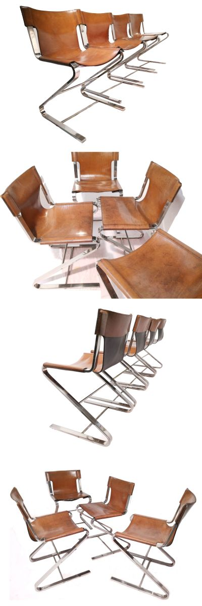 A set of four chrome cantilever and leather sling chairs c1970s.