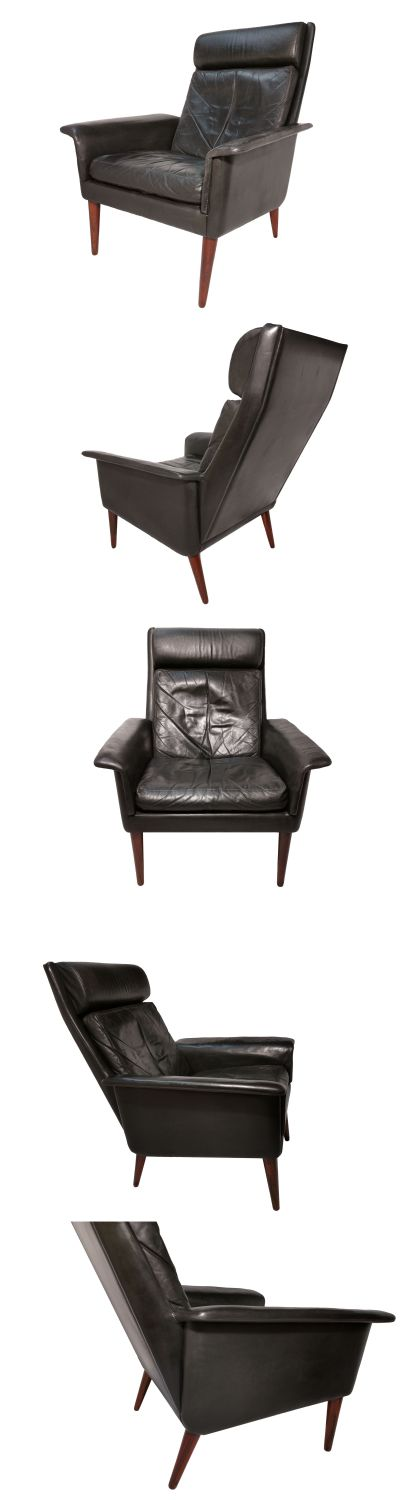 A high back leather and rosewood armchair in the manner of Arne vodder for Fritz Hansen