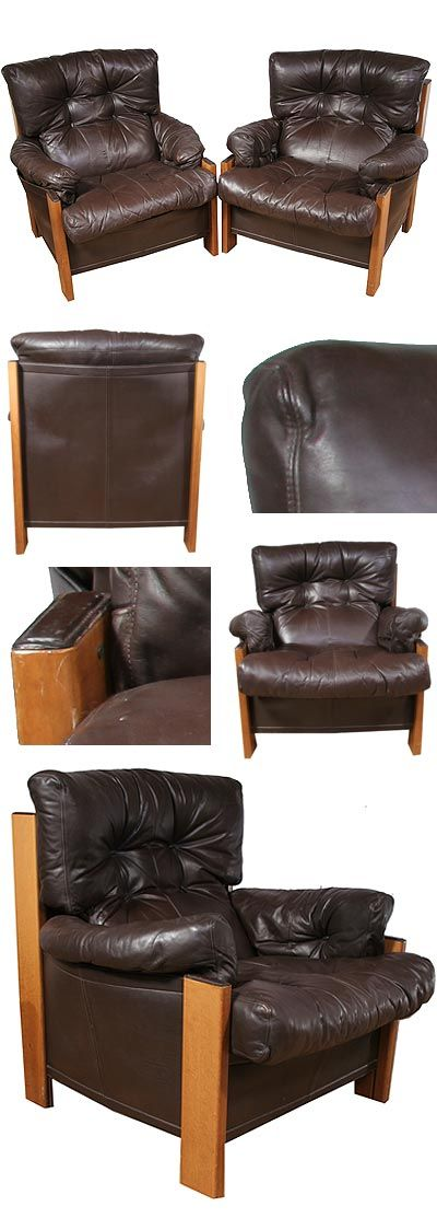 Pair of leather armchairs, reminiscent of Sergio Rodriguez