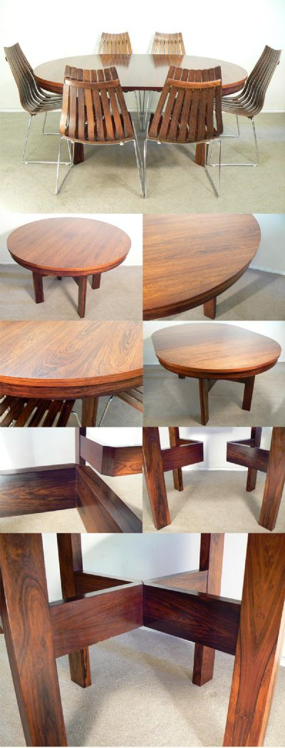 Large circular extending table. A stunning table with vivid grain and of excellent quality construction. Reminiscent of manufacturer Merrow
