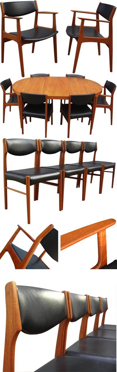 Set of six teak dining chairs including two carvers, c1960s. Organic in style with subtle details such as the angled armrests, sculpted back supports and curved framework. Designed by Eric Buck