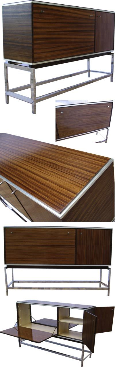 Rosewood and chrome bar. This delightful bar opens both sides for a large serving area.