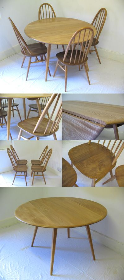 A drop leaf Ercol table and four hoop back chairs, c1970s.