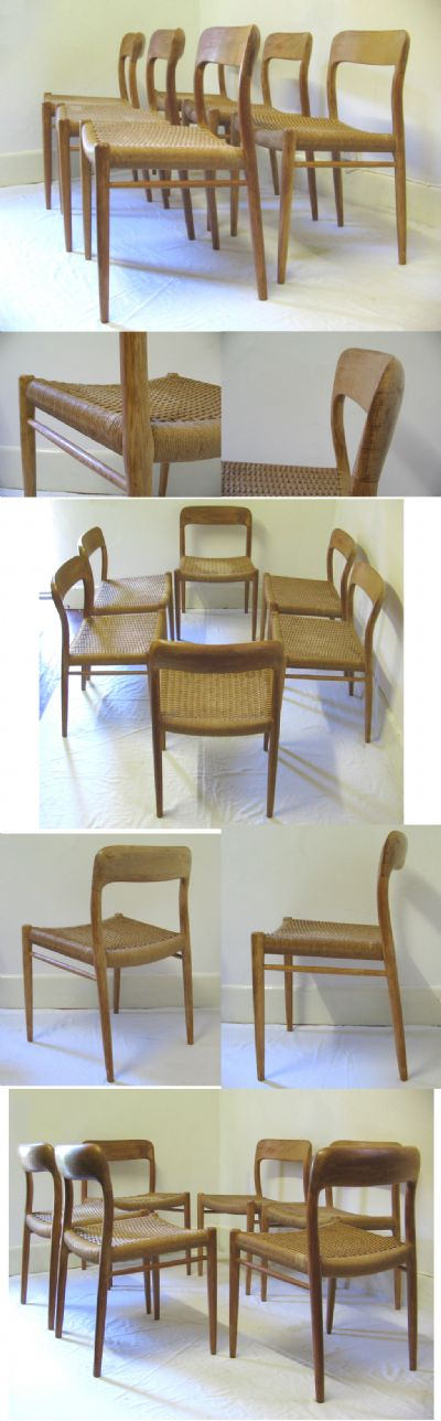 Set of six chairs by J.L Moller, c1970s.