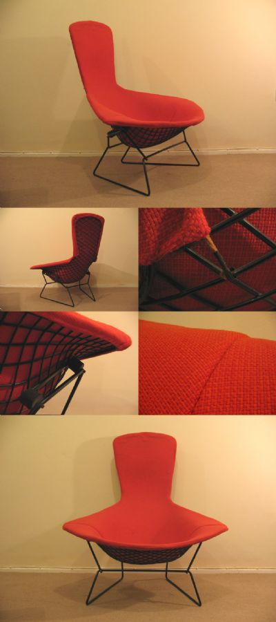 An original Bird chair by Harry Bertoia, model no.423 LU. For Knoll Associates cicra 1950s. Full length cover with early rope attachments.